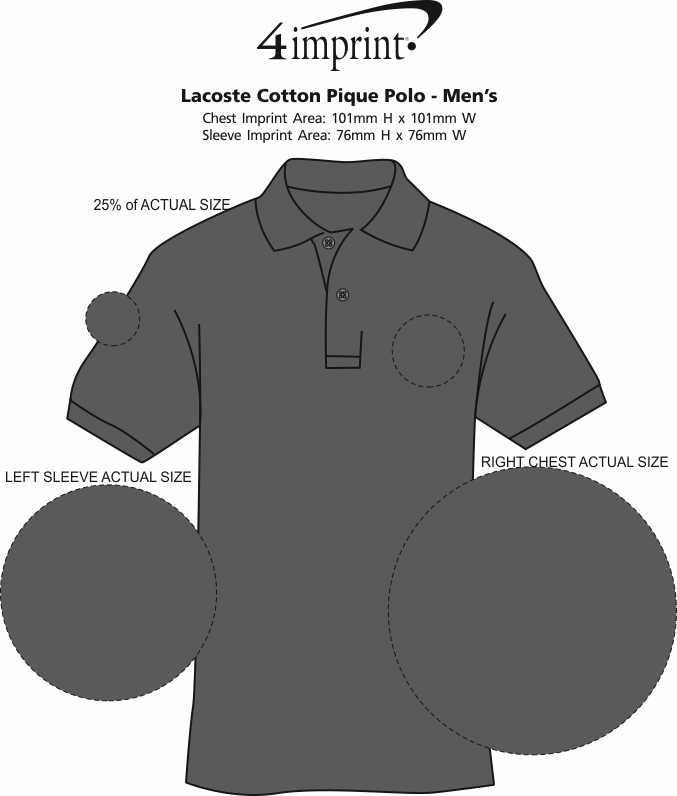 Imprint Area of Lacoste Cotton Pique Polo - Men's