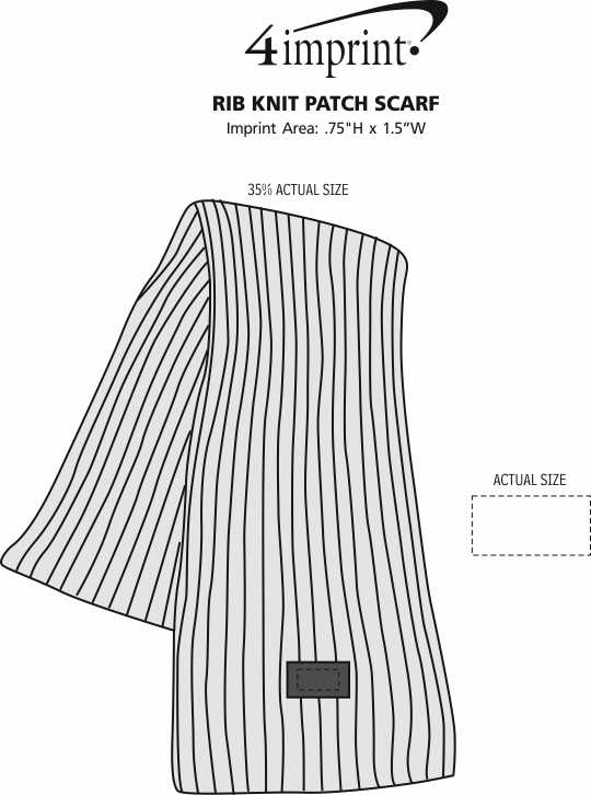 Imprint Area of Rib Knit Patch Scarf