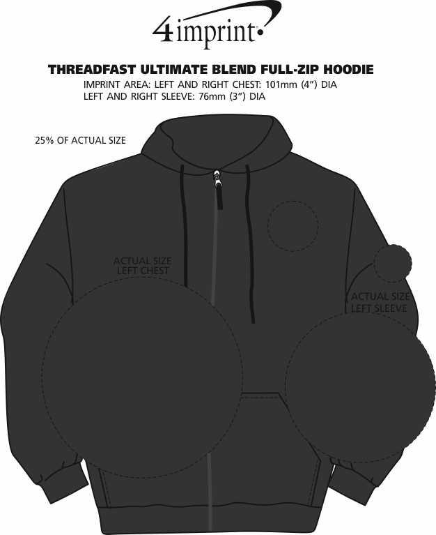 Imprint Area of Threadfast Ultimate Blend Full-Zip Hoodie