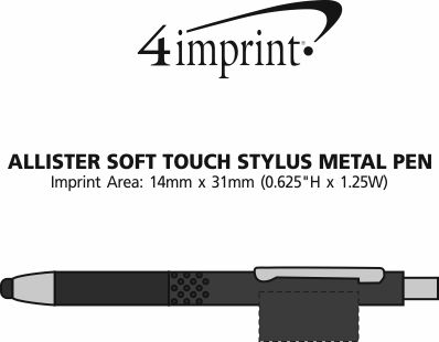 Imprint Area of Allister Soft Touch Stylus Metal Pen