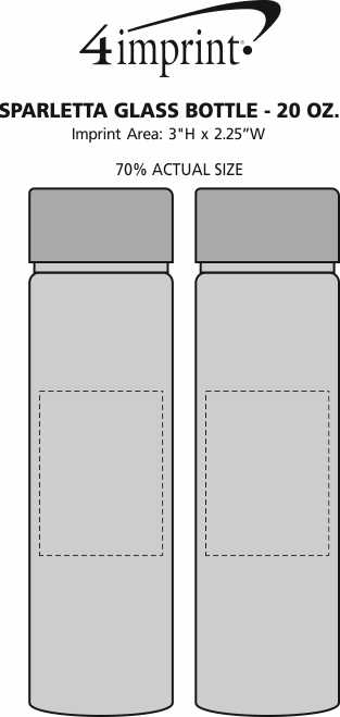 Imprint Area of Sparletta Glass Bottle - 20 oz.