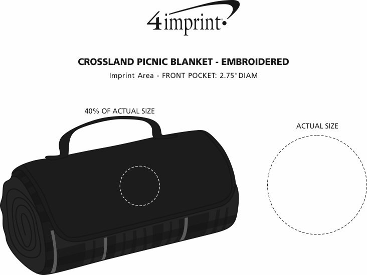 Imprint Area of Crossland Picnic Blanket - Embroidered