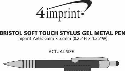 Imprint Area of Bristol Gel Soft Touch Stylus Metal Pen