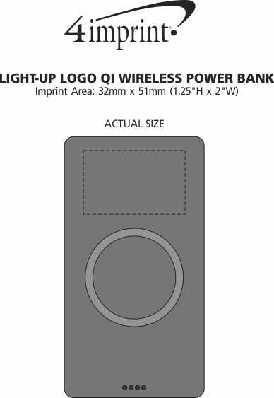 Imprint Area of Light-Up Logo Qi Wireless Power Bank - 10,000 mAh