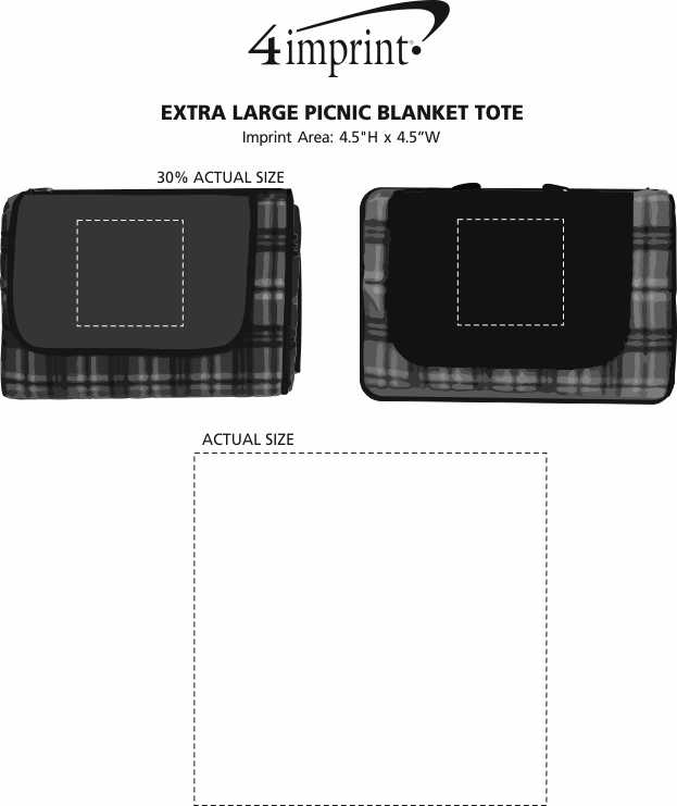 Imprint Area of Extra Large Picnic Blanket Tote