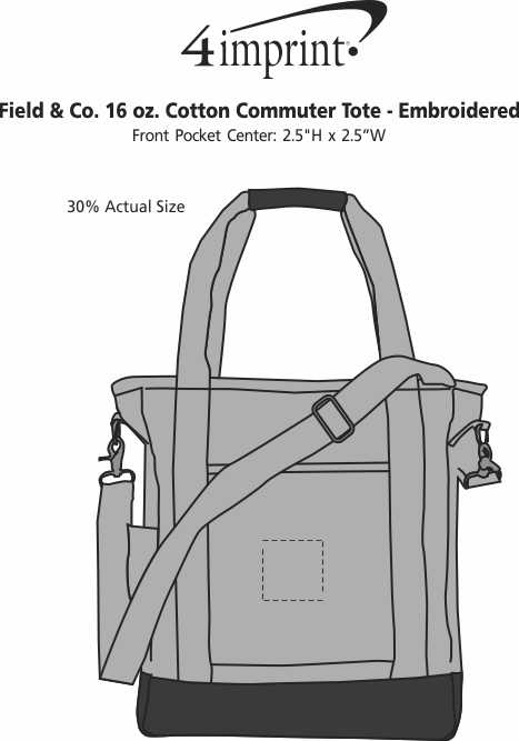 Imprint Area of Field & Co. 16 oz. Cotton Commuter Tote - Embroidered