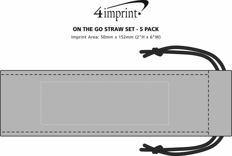 Imprint Area of On the Go Straw Set - 5 Pack