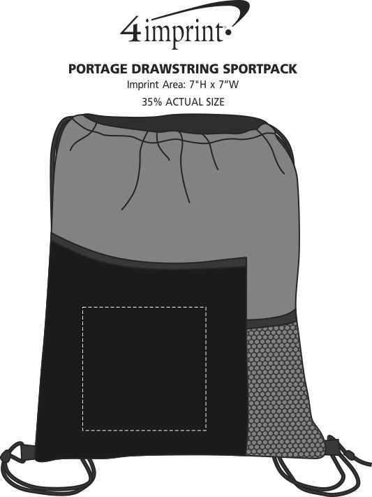 Imprint Area of Portage Drawstring Sportpack