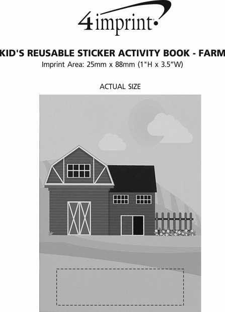 Imprint Area of Kid's Reusable Sticker Activity Book - Farm