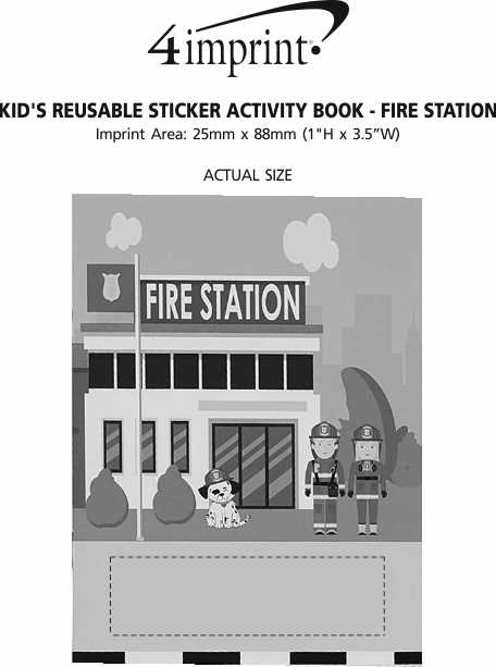 Imprint Area of Kid's Reusable Sticker Activity Book - Fire Station
