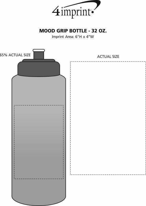 Imprint Area of Mood Grip Bottle - 32 oz.
