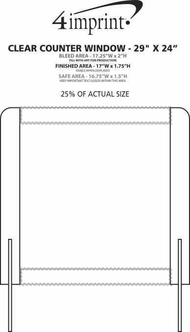"""Imprint Area of Clear Counter Window - 29"""" x 24"""""""