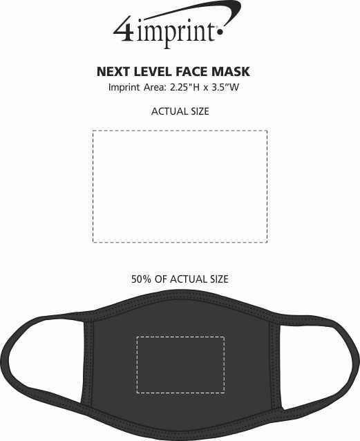 Imprint Area of Next Level Face Mask