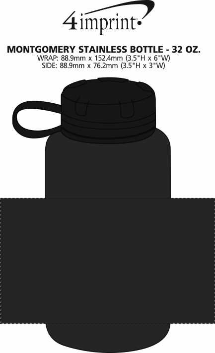 Imprint Area of Montgomery Stainless Bottle - 32 oz.