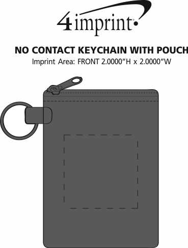 Imprint Area of No Contact Keychain with Pouch