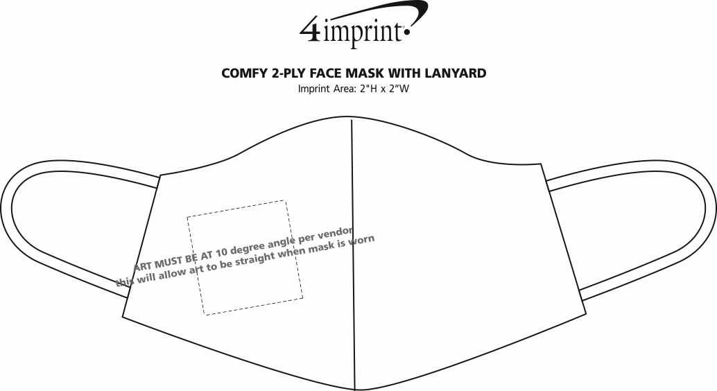 Imprint Area of Comfy 2-Ply Face Mask with Lanyard