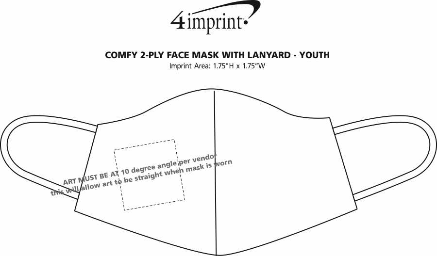 Imprint Area of Comfy 2-Ply Face Mask with Lanyard - Youth