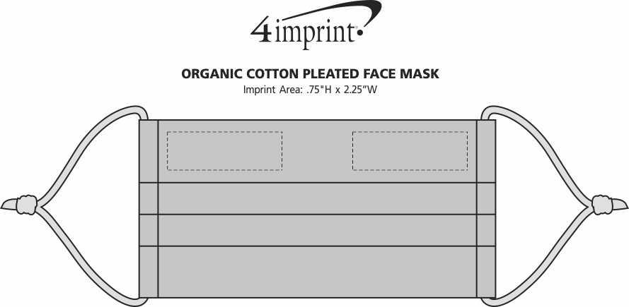 Imprint Area of Organic Cotton Pleated Face Mask