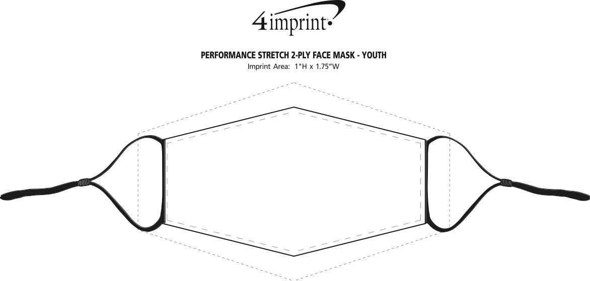 Imprint Area of Performance Stretch 2-Ply Face Mask - Youth - Full Color