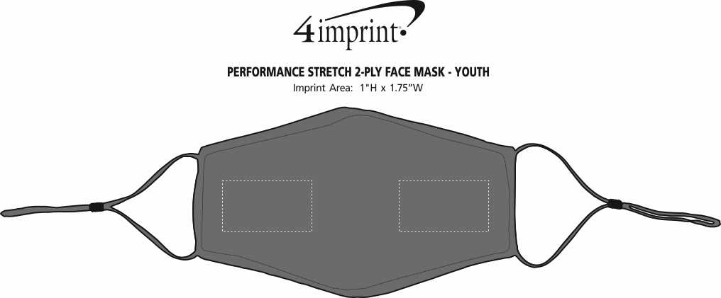 Imprint Area of Performance Stretch 2-Ply Face Mask - Youth
