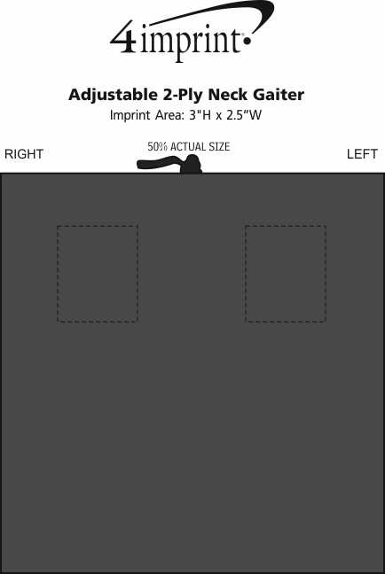 Imprint Area of Adjustable 2-Ply Neck Gaiter