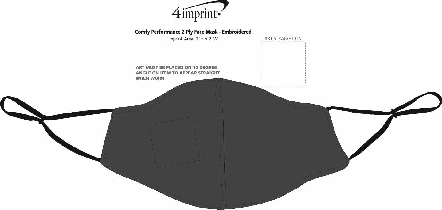 Imprint Area of Comfy Performance 2-Ply Face Mask - Embroidered