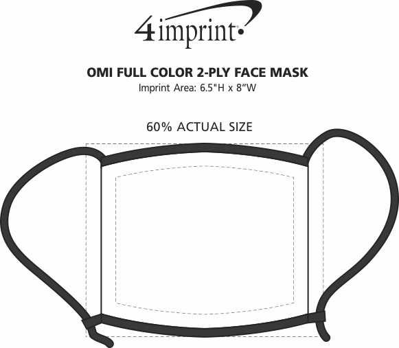 Imprint Area of Omi Full Colour 2-Ply Face Mask