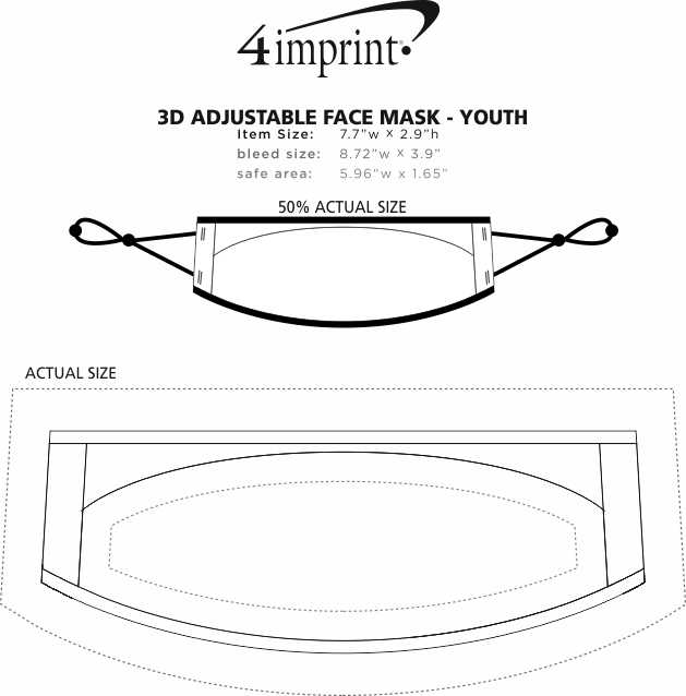 Imprint Area of 3D Adjustable Face Mask - Youth