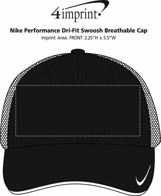 Imprint Area of Nike Performance Dri-Fit Swoosh Breathable Cap