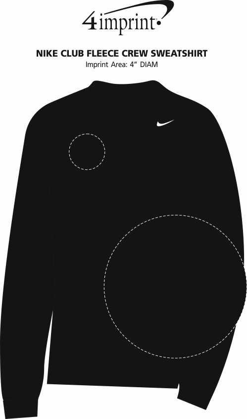 Imprint Area of Nike Club Fleece Crew Sweatshirt