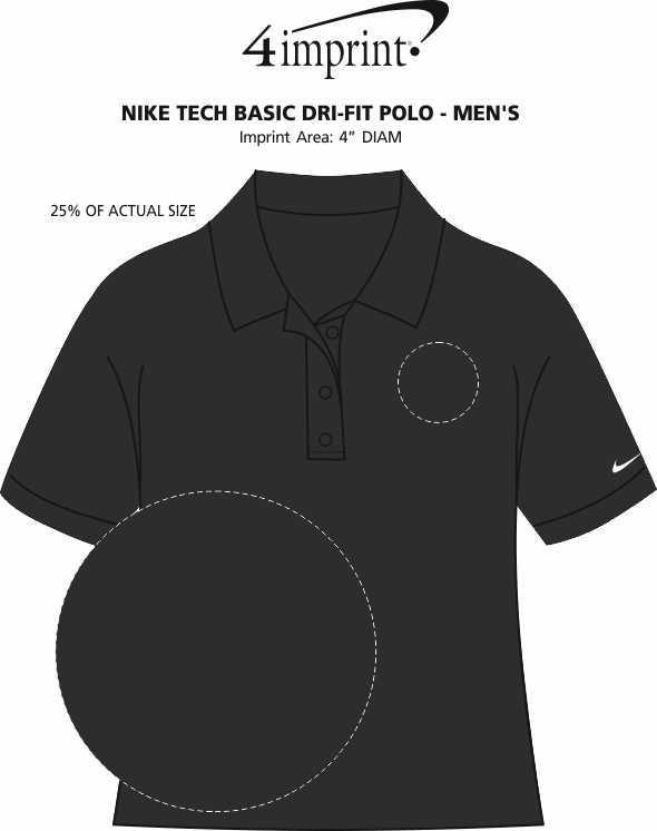 Imprint Area of Nike Tech Basic Dri-Fit Polo - Men's