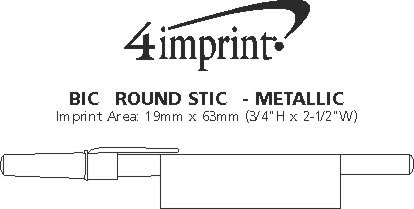 Imprint Area of Bic Round Stic Pen - Metallic