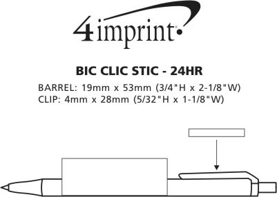 Imprint Area of Bic Clic Stic Pen - 24 hr