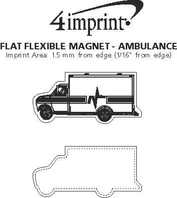 Imprint Area of Flat Flexible Magnet - Ambulance