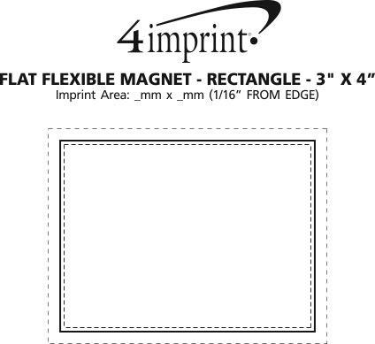 "Imprint Area of Flat Flexible Magnet - Rectangle 3"" x 4"""
