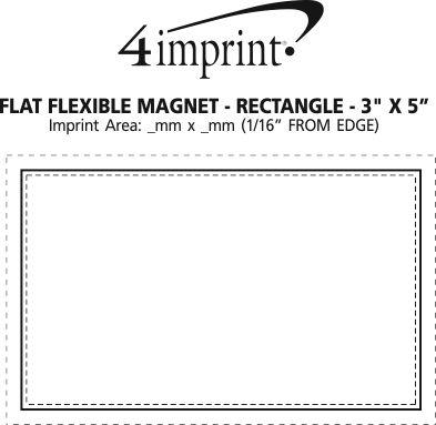 "Imprint Area of Flat Flexible Magnet - Rectangle 3"" x 5"""
