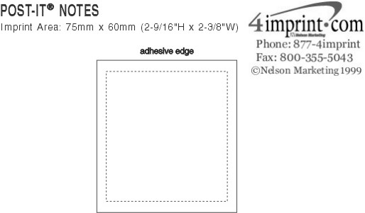 """Imprint Area of Post-it® Notes - 3"""" x 2-3/4"""" - 50 Sheet"""