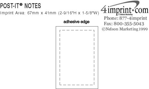 """Imprint Area of Post-it® Notes - 3"""" x 2"""" - 25 Sheet"""