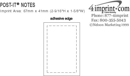 "Imprint Area of Post-it® Notes - 3"" x 2"" - 50 Sheet"