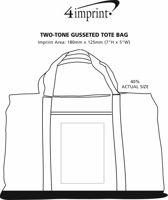 Imprint Area of Two-Tone Gusseted Tote Bag