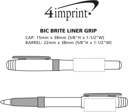 Imprint Area of Bic Brite Liner Highlighter with Grip