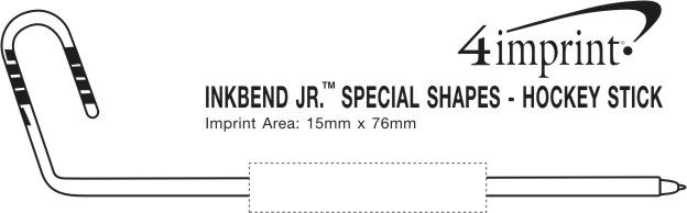 Imprint Area of Inkbend Standard Special Shapes - Hockey Stick