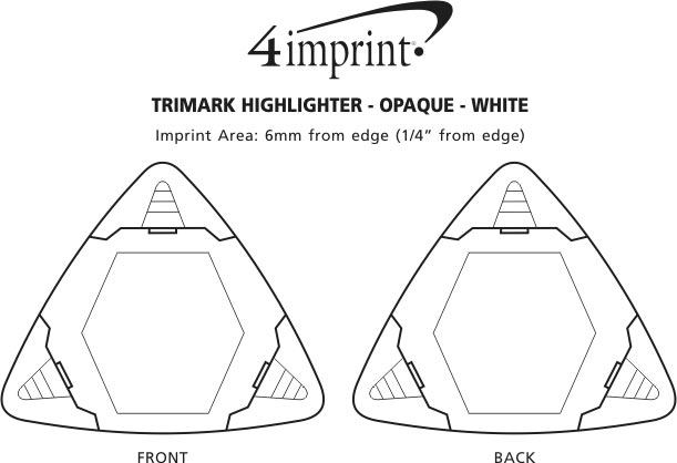 Imprint Area of TriMark Highlighter - Opaque - White