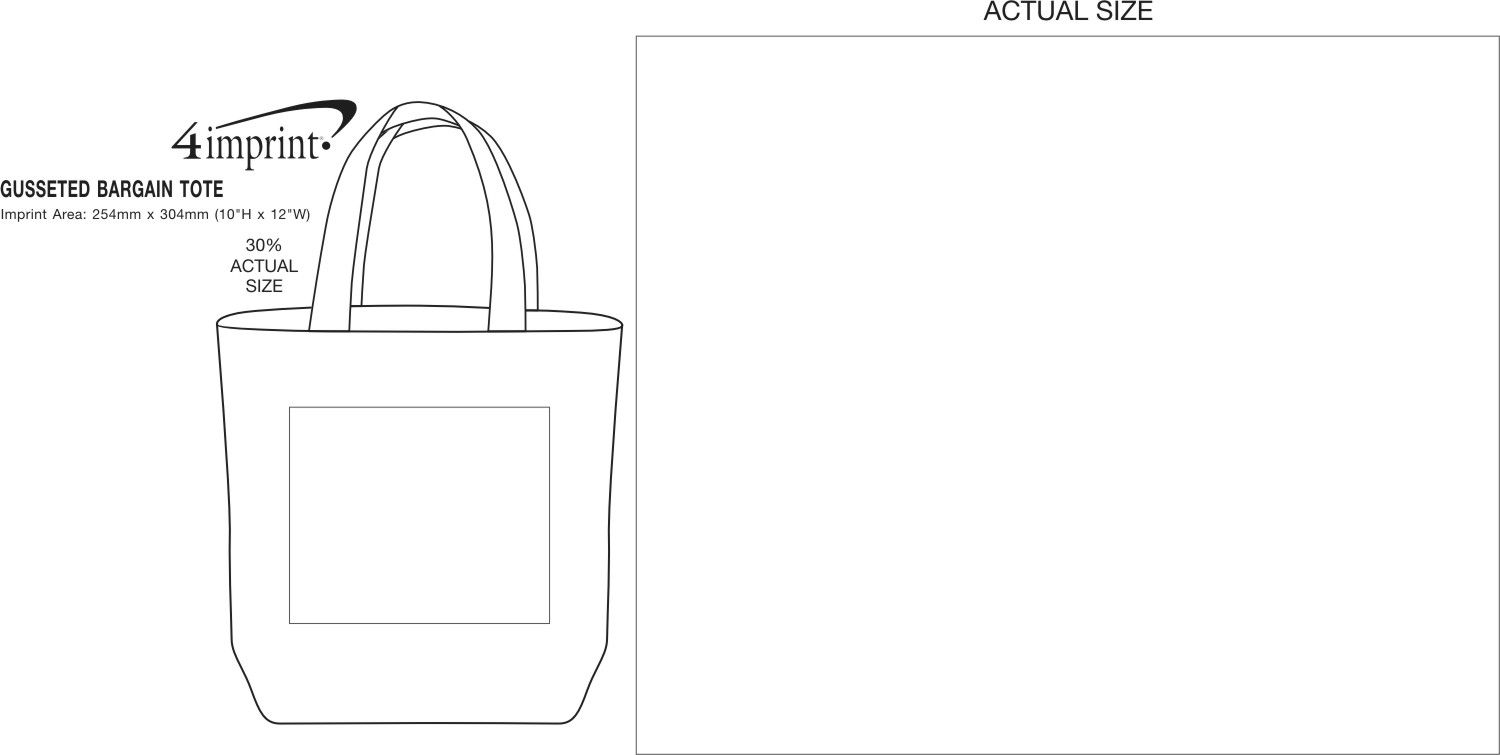 Imprint Area of Gusseted Budget Tote
