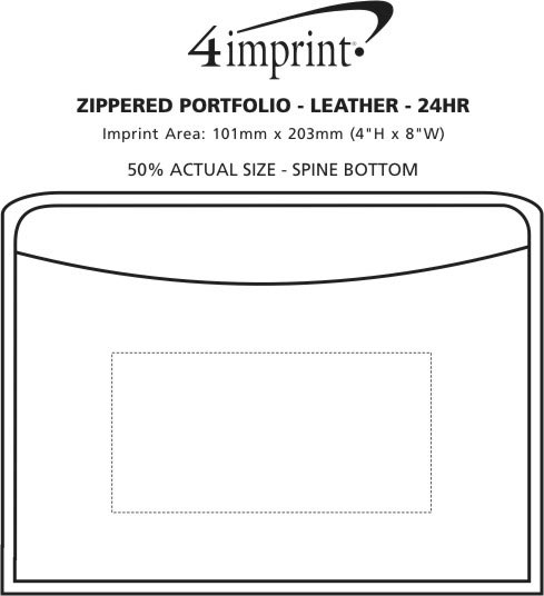Imprint Area of Zippered Portfolio - Leather - 24 hr