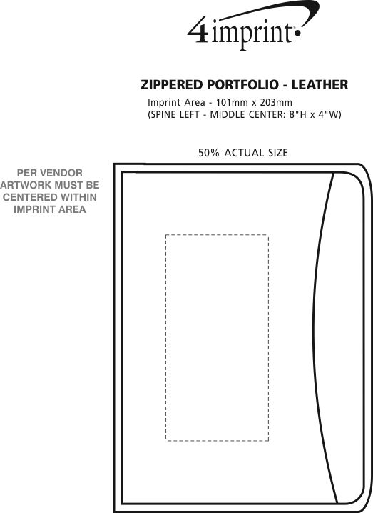 Imprint Area of Zippered Portfolio - Leather