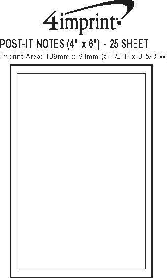 """Imprint Area of Post-it® Notes - 6"""" x 4"""" - 25 Sheet"""