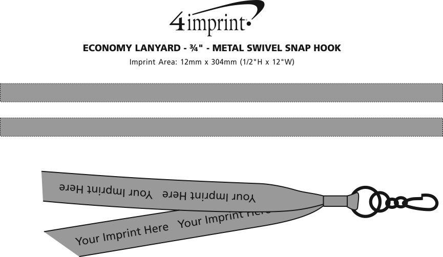 "Imprint Area of Economy Lanyard - 3/4"" - Metal Swivel Snap Hook"