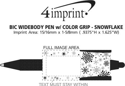 Imprint Area of Bic Widebody Pen with Colour Grip - Snowflakes