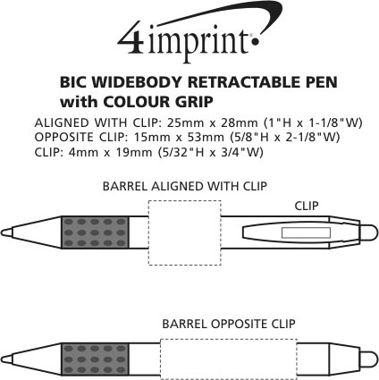 Imprint Area of Bic WideBody Pen with Colour Grip